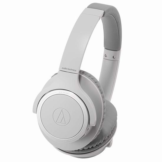 历史新低!Audio-Technica 铁三角 ATH-SR30BTGY 重低音 蓝牙无线耳机6折 89.99加元包邮!