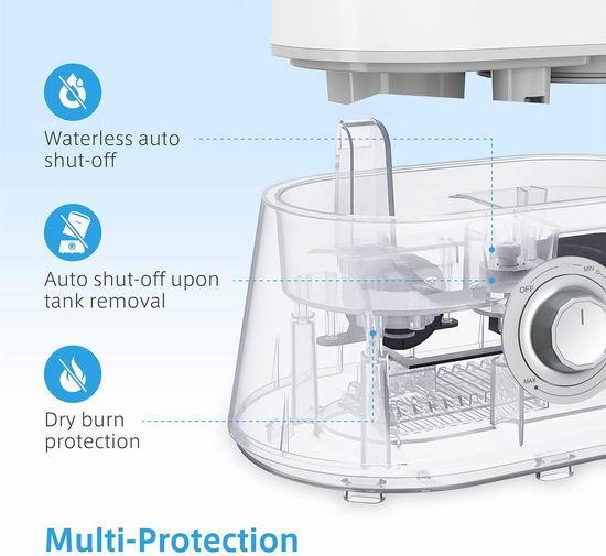 Homech 4升大容量 零噪音超声波加湿器 44.99加元包邮!免税!冬季补水必备,让肌肤吹弹可破!