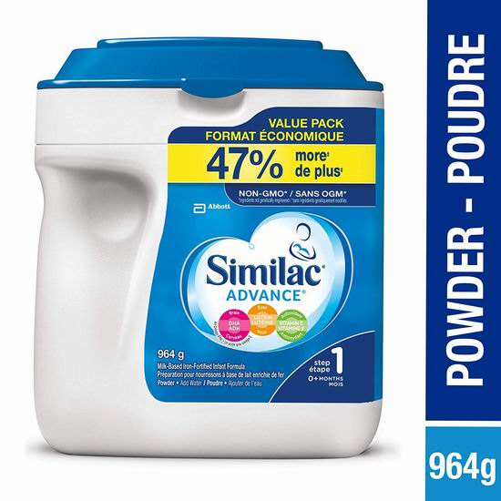 Similac Similac advance step 1 婴儿配方奶粉(964 g) 29.56加元包邮!