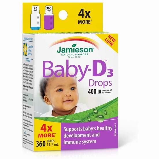 Jamieson 健美生 婴儿 Vitamin D3 400 IU 滴剂 14.22加元包邮!