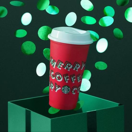 Starbucks 星巴克圣诞特色饮品上市,今日送可重复使用圣诞环保杯!