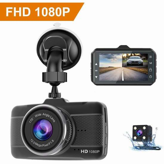 Claoner 1080P全高清 170度超广角夜视 前后双摄像头 辅助倒车 行车记录仪3.8折 49.99加元特卖并包邮!