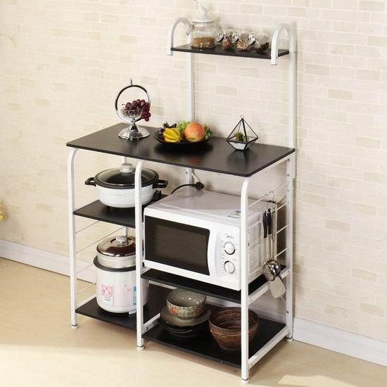 手慢无!sogesfurniture BHCA-172-BK 四层式 厨房收纳桌 53.99加元限量特卖并包邮!2色可选!