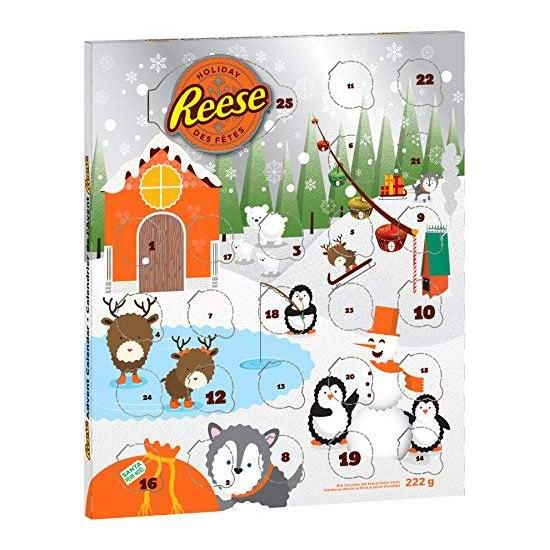 REESE Christmas & Holiday 圣诞倒数日历 巧克力糖果套装4.6折 5.29加元!