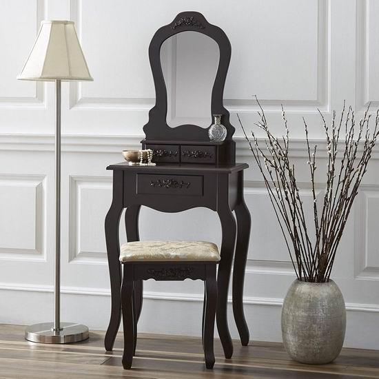 白菜价!历史新低!Fineboard FB-VT09-BN Elegant 复古梳妆台桌椅套装2.3折 61.95加元包邮!