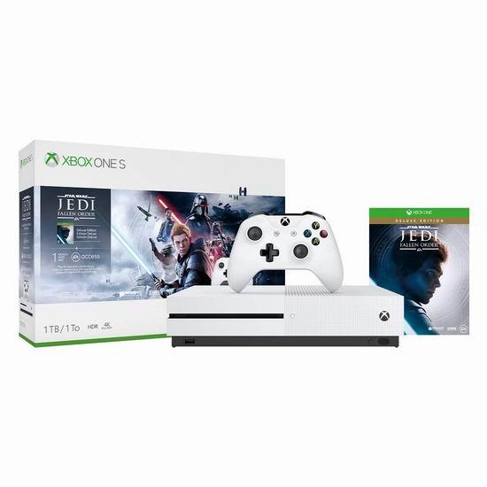 历史最低价!Xbox One S 1TB 家庭娱乐游戏机+《星球大战绝地:陨落的武士团》套装 249.95加元包邮!