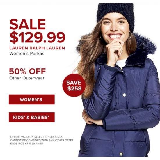 今日闪购:精选 Lauren Ralph Lauren 女式毛领羽绒服、防寒服全部3.3折 129.99加元包邮!共4款多色可选!儿童防寒服全部5折!
