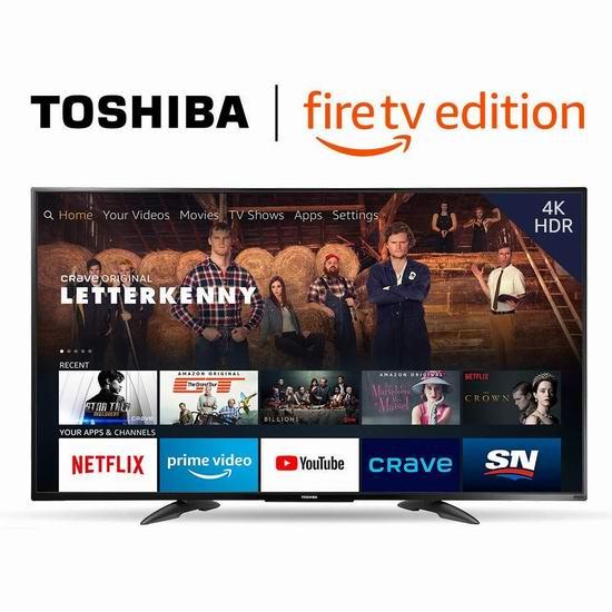 黑五价:历史新低!Toshiba 东芝 32英寸/43英寸/49英寸 4K UHD超高清 Fire TV版智能电视 219.99-379.99加元包邮!