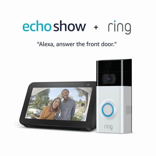 历史新低!Ring 1080P 第二代智能可视门铃+Echo Show 5智能显示器6.2折 194加元包邮!
