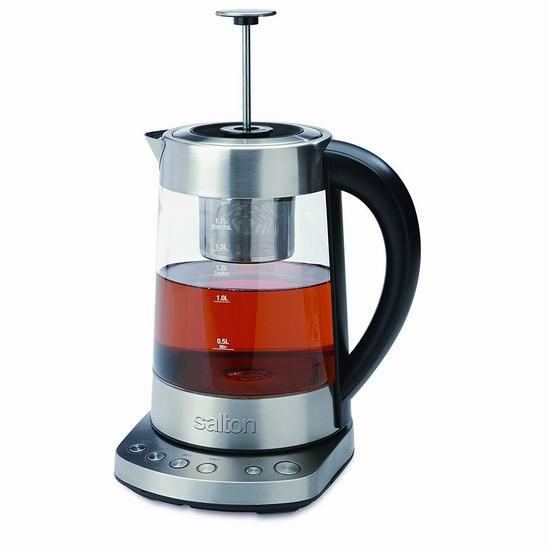 历史最低价!Salton GK1461 精密温控 泡茶烧水二合一 玻璃电热水壶4.6折 49.88加元包邮!