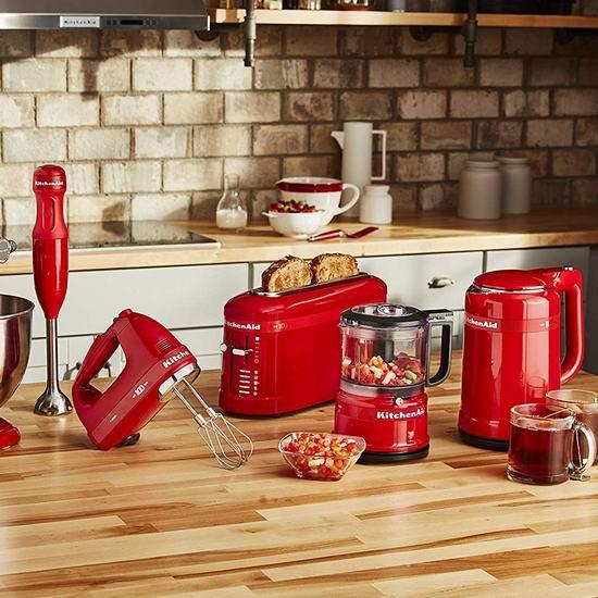 精选多款 KitchenAid 高颜值红色 百年限量版 电热水壶、搅拌器、搅拌棒、食物料理机、烤面包机5折起!