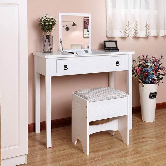 历史最低价!金盒头条:VASAGLE URDT01M 二合一 白色梳妆台/电脑桌 桌凳套装 7.1折 149.99加元包邮!