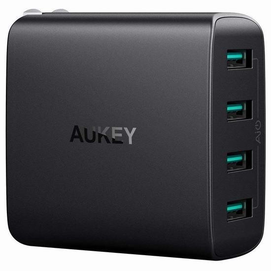 AUKEY 40瓦 4口 智能快速USB充电器 14.99加元!
