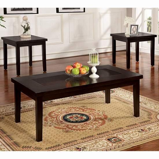 白菜价!历史新低!Furniture of America Vanta 实木茶几+边桌3件套1.5折 84.57加元包邮!