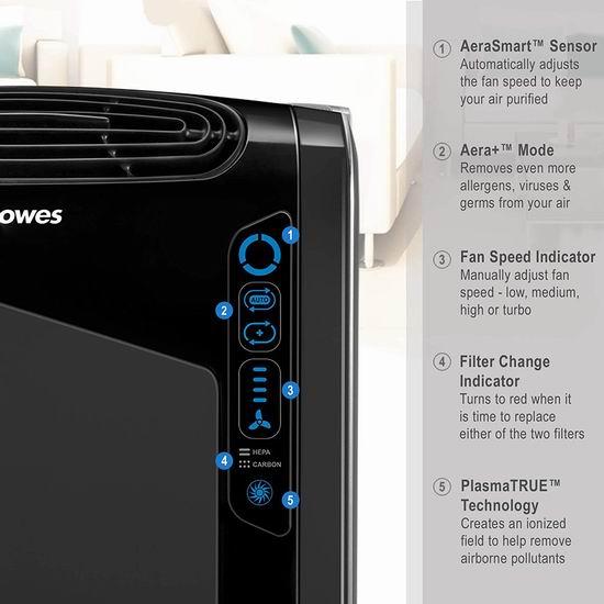 历史新低!Fellowes 范罗士 FEL9286201 AeraMax 黑色家用空气净化器5折 227.54加元包邮!