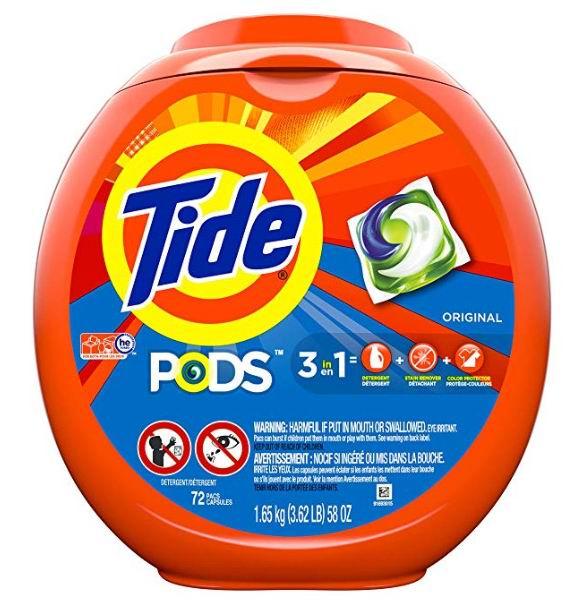 Tide 汰渍4合1高效果冻洗衣球 61颗 17.67加元,原价 21.99加元