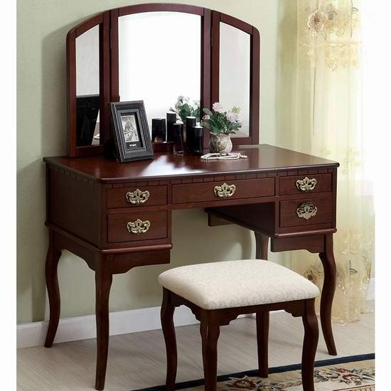 历史新低!Furniture of America Matilda Chippendale 复古梳妆台桌椅套装4折 237.85加元包邮!