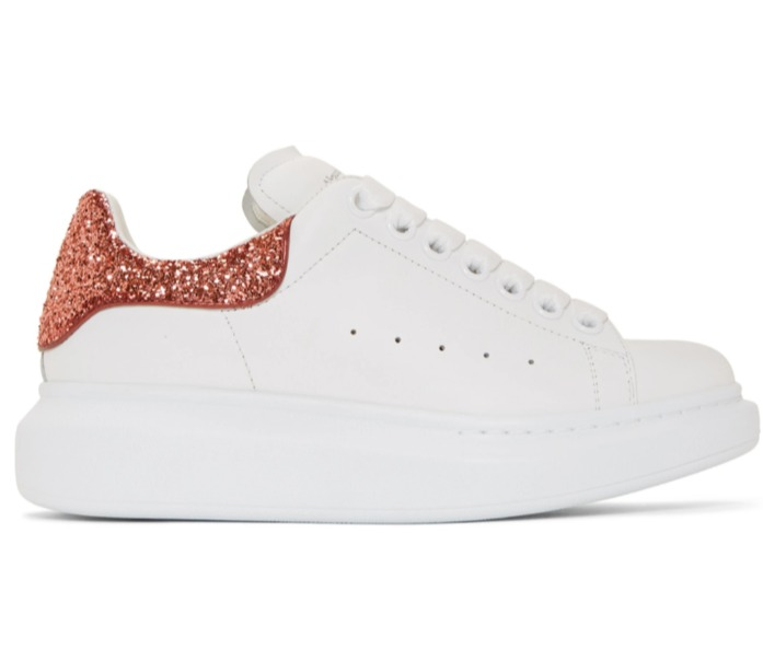 Alexander McQueen Glitter Oversized女士小白鞋 481加元(35/36.5码) ,原价 650加元,包邮