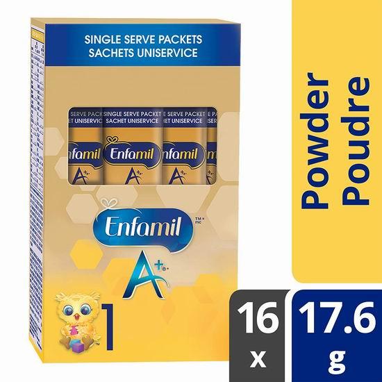 Enfamil A+ 一段婴儿配方奶粉(17.6g x 16袋 )12.11加元!