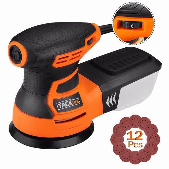 TACKLIFE PRS01A 5英寸 350W 电磨砂光机 46.72加元限量特卖并包邮!