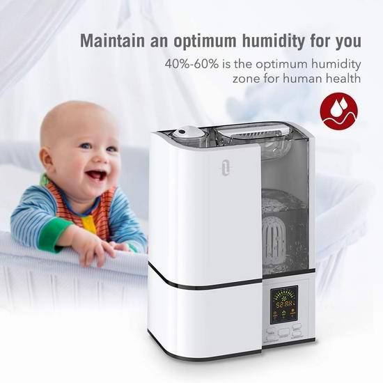 销量冠军!热卖款 TaoTronics TT-AH001 4升大容量 零噪音超声波冷雾加湿器 43.63加元包邮!