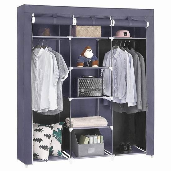 历史新低!SONGMICS 59英寸 便携式钢结构简易衣柜4.1折 42.49加元包邮!