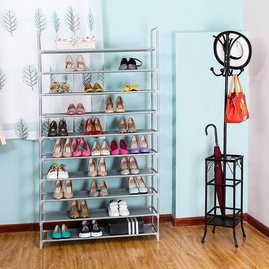 Songmics 10层1.75米超大容量鞋架 35.69加元包邮!