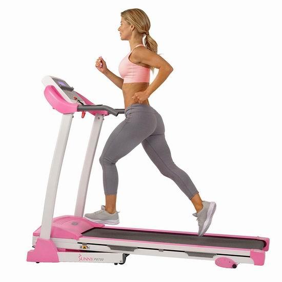 历史新低!Sunny Health & Fitness P8700 粉红 家用静音跑步机 479.98加元包邮!