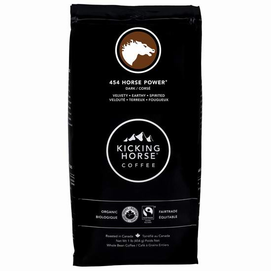 Kicking Horse Coffee 踢马 Grizzly Claw 灰熊爪深度烘焙 有机咖啡豆(1磅) 9.49-9.99加元!多种口味可选!