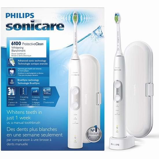 近史低价!Philips 飞利浦 Sonicare HX6877/21 声波震动电动牙刷6.6折 99.98加元包邮!