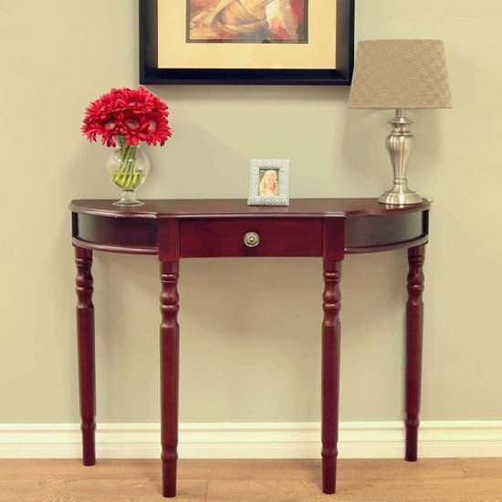 历史新低!Frenchi Home Furnishing Entry Way 半月形 实木边桌/门厅桌2.4折 54.61加元包邮!