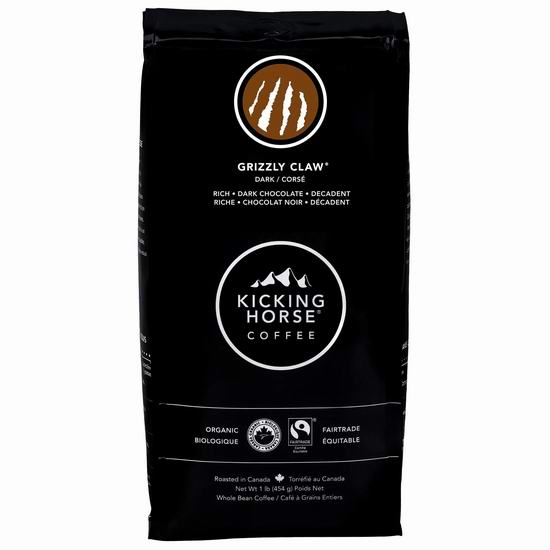 Kicking Horse Coffee 踢马 Grizzly Claw 灰熊爪深度烘焙 有机咖啡豆(1磅) 9.49加元包邮!多种口味可选!
