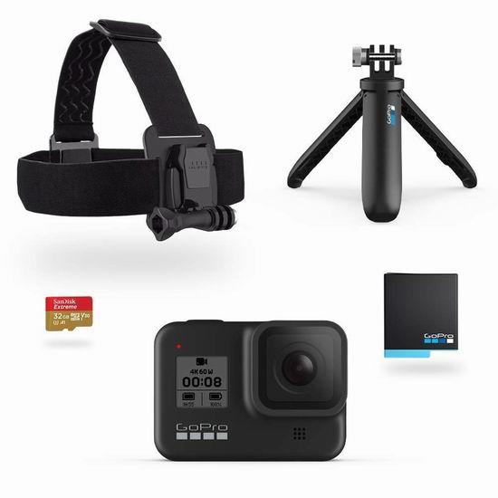 历史新低! GoPro HERO8 Black 4K 运动相机 超值装 6.7折 399加元包邮!送备用电池、SD卡、头带、自拍杆/三脚架!