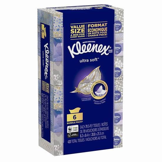 Kleenex 舒洁 超软面巾纸/抽纸(70抽x6盒、420张)6.64加元!