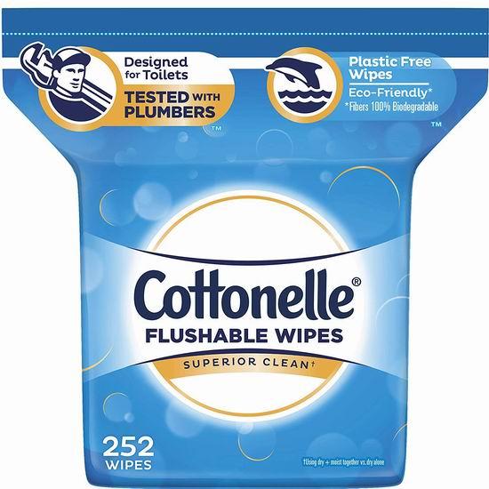 Cottonelle Flushable 可冲马桶湿巾纸(252张) 9.97加元!仅限今日!