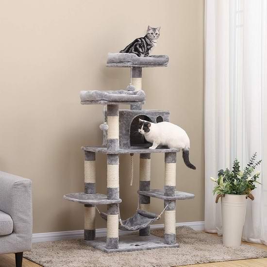 金盒头条:历史新低!FEANDREA 59.3英寸 豪华猫树公寓/猫爬架 104.99加元包邮!2色可选!