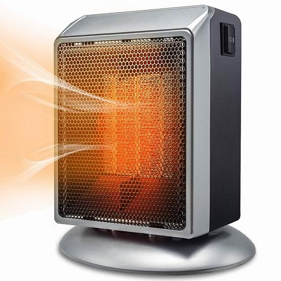 Bermunavy 900W 便携式陶瓷电热取暖器6.8折 28.19加元!