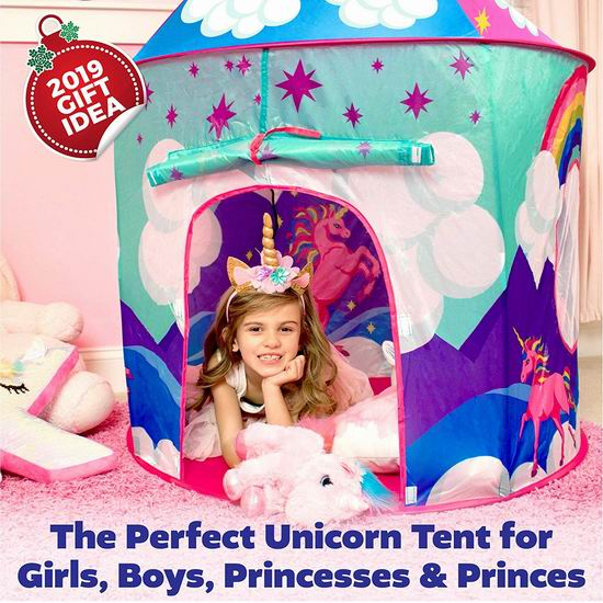 金盒头条:历史新低!USA Toyz Unicorn 便携弹出式儿童城堡/帐篷6折 29.99加元!2色可选!