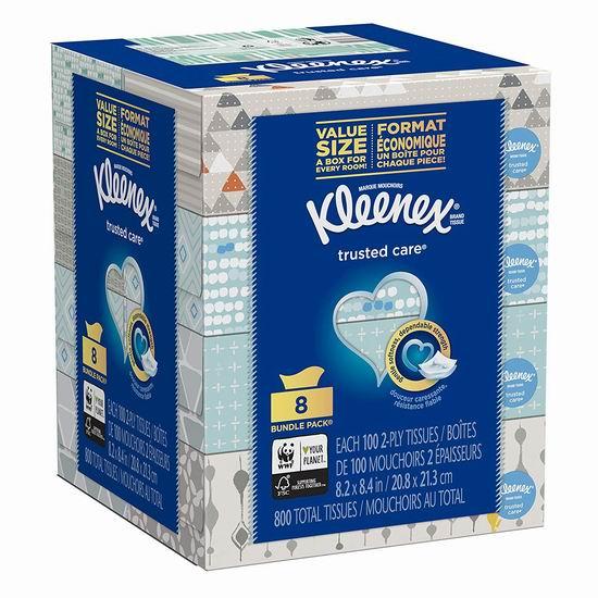 历史新低!Kleenex 舒洁 Trusted Care 超软面巾纸/抽纸(100抽x8盒、800张)4.72加元!
