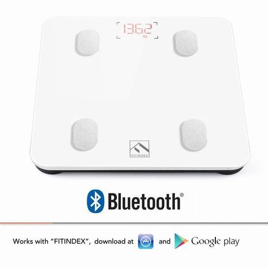 FITINDEX 智能蓝牙无线 体脂/体重秤 30.99加元!2色可选!