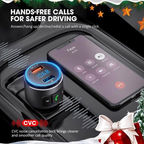 VicTsing T10 无线蓝牙车载FM调频转换器+智能语音+免提电话+USB快充 18.35加元!