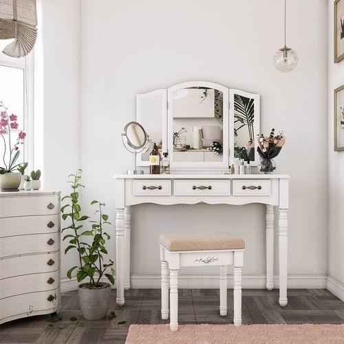 史低价!金盒头条:SONGMICS 3合1 三折镜+白色梳妆台+梳妆凳套装 6.7折 194.99加元包邮!