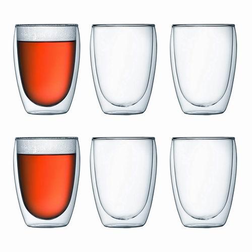 近史低价!丹麦 Bodum 12盎司 双层隔热玻璃杯 6件套 7.1折  39.97加元