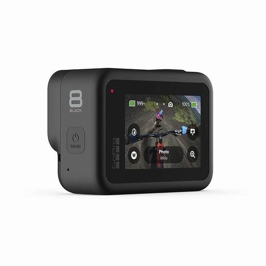 历史新低! GoPro HERO8 Black 4K 运动相机 超值装6.3折 379.99加元包邮!送备用电池、SD卡、头带、自拍杆/三脚架!