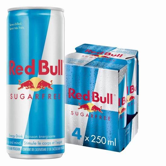 历史新低!Red Bull 红牛无糖能量饮料4罐装 6.97加元!