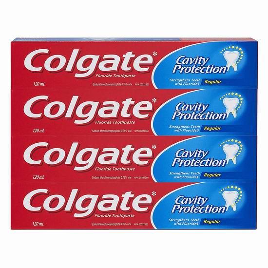 Colgate 高露洁 Cavity 防蛀齿牙膏4支装 3.98加元!