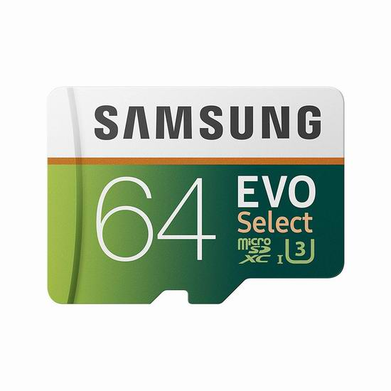 历史最低价!Samsung 三星 EVO Select 64GB microSDXC 闪存卡 13.99加元!