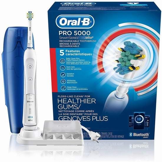 近史低价!Oral-B Pro 5000 SmartSeries 蓝牙电动牙刷 90加元包邮!