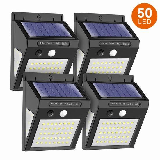MODAR 50 LED 超亮 太阳能 运动感应灯4件套 24.19加元限量特卖并包邮!