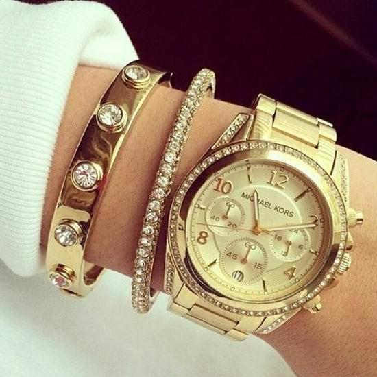 历史新低!Michael Kors MK5166 三眼计时 女士金色水晶腕表/手表 146.38加元包邮!